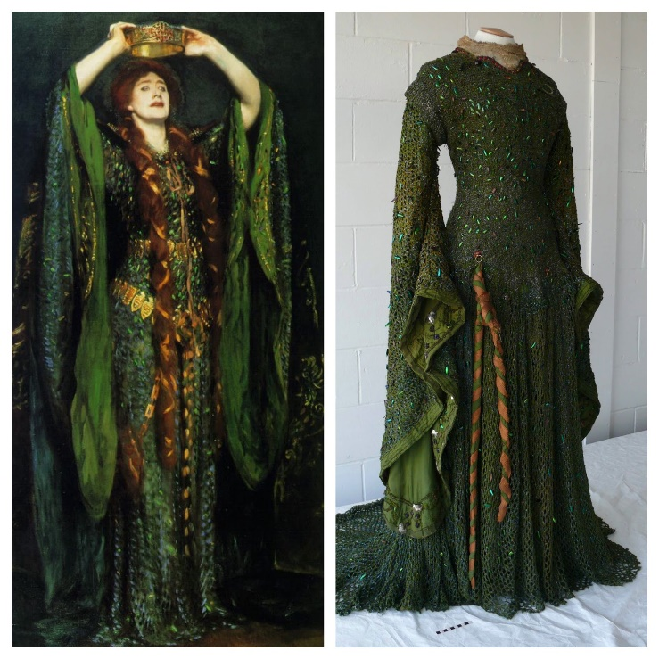 John Singer Sargent: Ellen Terry as Lady Macbeth (1889) (l.), The restored Beetle Dress (r.)