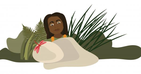 Ilustration of a girl by a rock with plants and a pink damselfly